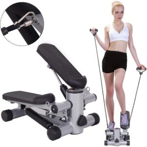 top Exercise Steppers machines in 2021   Goplus Mini Stepper Air Climber Step Fitness Exercise Machine with Resistance Band and LCD Display 2021