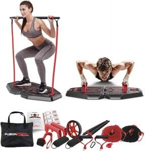 compact home gym machine | Fusion Motion Portable Gym with 8 Accessories Including Heavy Resistance Bands, Tricep Bar, Ab Roller Wheel, Pulleys and More - Full Body Workout Home Exercise Equipment to Build Muscle and Burn Fat